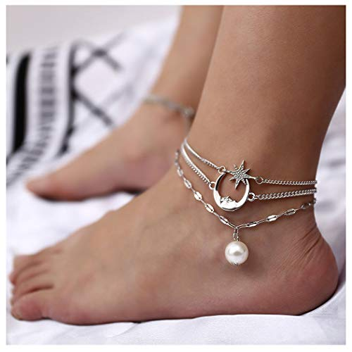 Asooll Layered Moon Anklet Star Ankle Bracelet Pearl Pendant Foot Chain Silver for Women and Girls 1pcs Pack