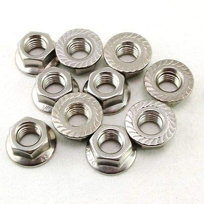 Nut & Bolt - Lot50 Metric M12 304 Stainless Steel Hex Head Serrated Spinlock Flange Nuts