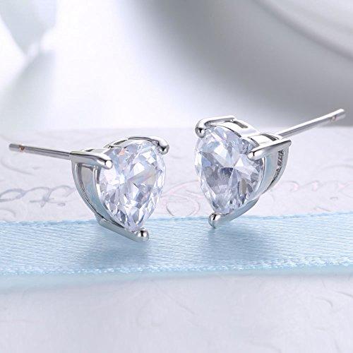 Joyfulshine Womens Sterling Silver Cubic Zirconia Love Heart Stud Earrings for Ladies Girls Jewelry