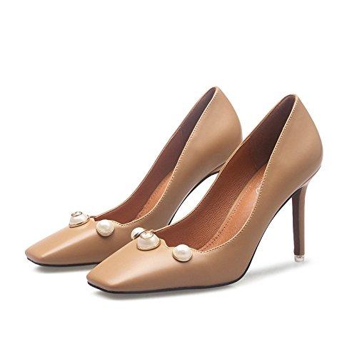En Retro d Zapatos de Tacones Elegante de y Altos Cuero el Primavera Damas período y YMFIE otoño Superficial Perlas de Finas Temperamento Moda pxdwp