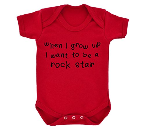 Crue Star Motley (When I Grow Up...A Rock Star Baby Bodysuit Red with Black Print)
