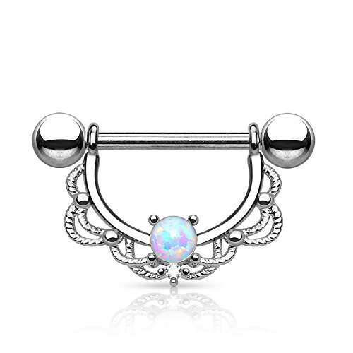 Dynamique Opal Center Filigree Drop 316L Surgical Steel Nipple Ring ()