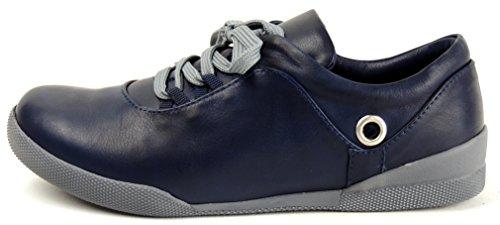 Lisa Azul de Piel Oscuro Mujer Cordones Conti para Andrea de Azul Zapatos qWRFfTf