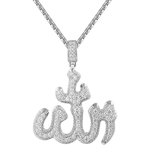MASTER OF BLING Sterling Silver Allah Pendant Simulated Diamonds 24 Inch Box Necklace Chain Charm