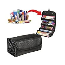 Roll Up Travel Cosmetic Bag Letter Print Makeup Case Hanging Bathroom Organizer