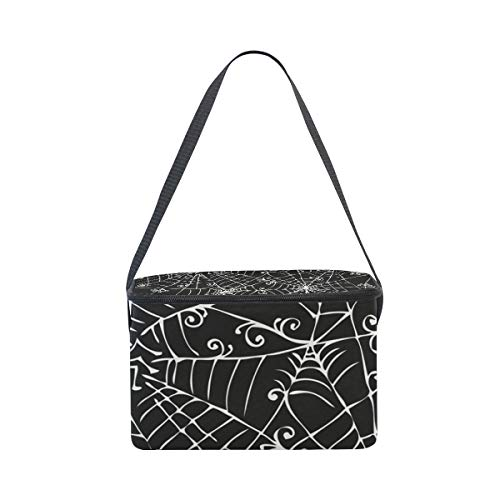 for Bag Lunchbox Lunch Cooler Background Shoulder Picnic Spooky Web Strap Black Spider White pCUCqT8