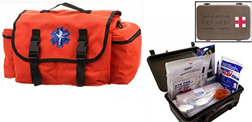 Ultimate Arms Gear Deluxe Orange Emergency Survival Rescue Bag Kit   First Aid Trauma Kit General Purpose In Waterproof Carrying Storage Case  Usa Made  Fully Stocked 58 Piece Kit
