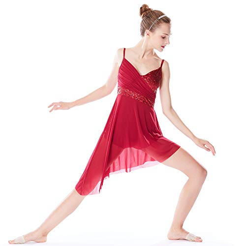 MiDee Lyrical Dance Costume Dress Sequined V-Neck High-Low for Girls Women (MA, Wine)