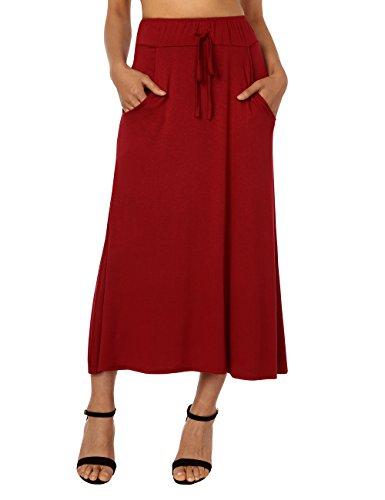 DJT Women's High Waisted A Line Skirt Skater Pleated Full Midi Skirt Red ()