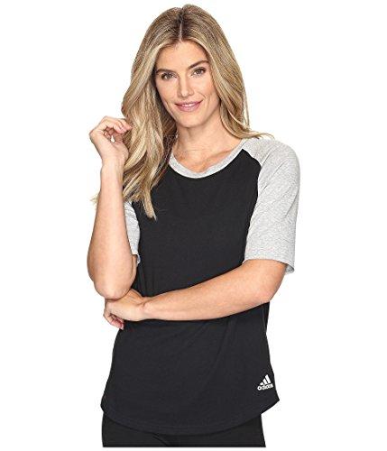 adidas Women's Athletics Raglan Baseball Top, Black, X-Small