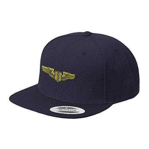 - Speedy Pros Flight Surgeon Badge Embroidered Flat Visor Snapback Hat Navy