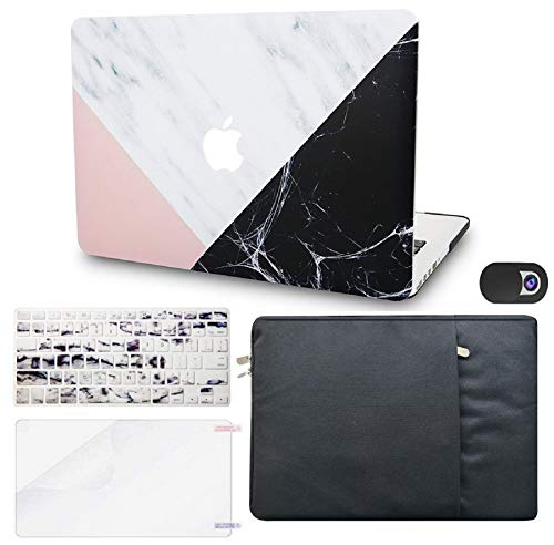 """KECC Laptop Case for MacBook Air 13"""" w/Keyboard Cover + Sleeve + Screen Protector + Webcam Cover (5 in 1 Bundle) Plastic Hard Shell Case A1466/A1369 (White Marble Pink Black)"""