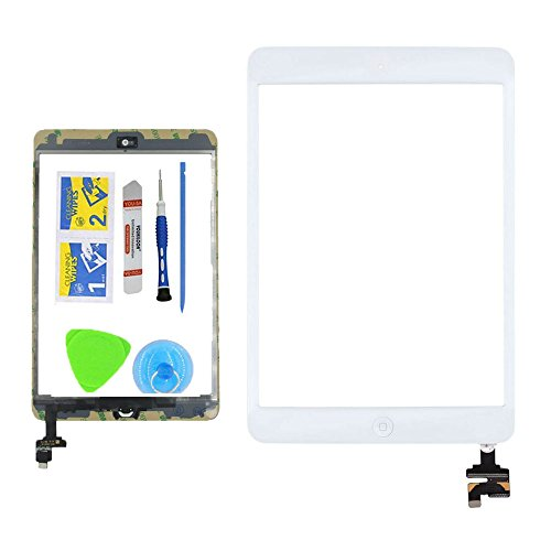 Monstleo White Replacement Screen Touch Screen Digitizer For iPad Mini 1 & 2 With IC Chip Home Button and Flex Cable Assembly+Tool kit (Open Frame Lcd Display Panel)