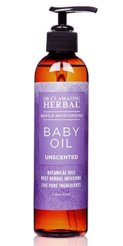 Natural Baby Oil, Natural Skin Care for Babies, Unscented Infant Massage Oil with Soothing Organic Calendula and Licorice Root, Fragrance Free, Ora's Amazing Herbal