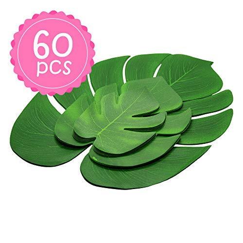 60PCS Artificial Palm Leaves Monstera Fake Large Green Leaf Faux Tree Fronds Decorations for Hawaii Hawaiian Aloha Luau Tropical Safari Tiki Jungle Beach Birthday Decor Theme Party -