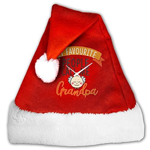 FQWEDY My Favorite People Call Me Grandpa Unisex-Adult's Santa Hat, Velvet Christmas Festival -