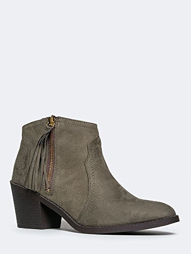 Low Western Ankle Bootie - Fringe Zip Up Boot - Cute Tassel Casual Heel - Simple Leather Walking Shoe