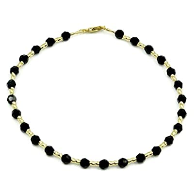 "wholesale Black Onyx 8 1/2 "" Bracelet with 14k Yellow Gold Fancy Tubes hot sale"
