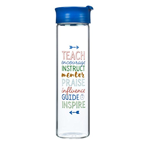 Glass Water Bottle, A Great Teacher, 20 Ounce, Blue