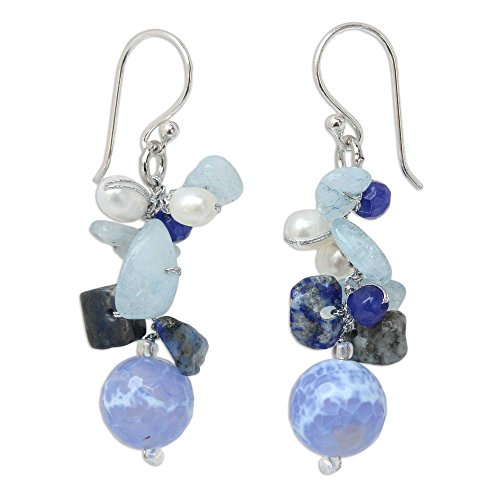 - NOVICA Multi-Gem Cultured Freshwater Pearl .925 Sterling Silver Beaded Dangle Earrings, Azure Love'