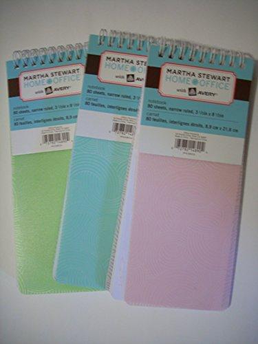 3 Martha Stewart Home Office Tall Spiral Notepads