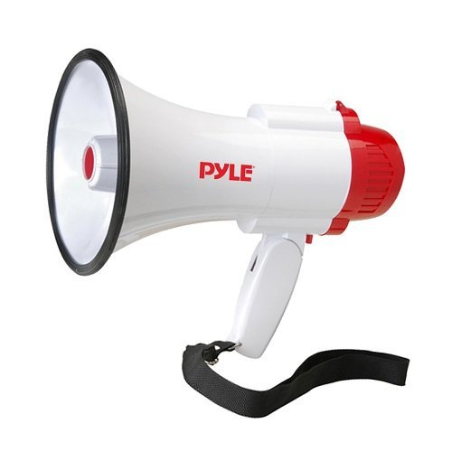 Pyle Megaphone Speaker PA Bullhorn - with Built-in Siren 30 Watt Voice Recorder & 800 Yard Range - Ideal for Football, Soccer, Baseball, Hockey, Basketball, Cheerleading Fans & Coaches - PMP35R by Pyle