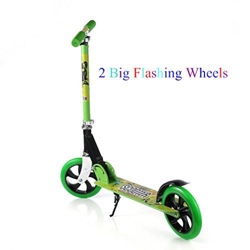 Kick Scooter, 2 Big Wheels Easy-Folding Adjustable Handle Bars with Dual Suspension, Street Push Scooter for City Urban Adult Teen Riders, Supports 220lbs Weight - Smooth & Fast (Big Wheel Brake)