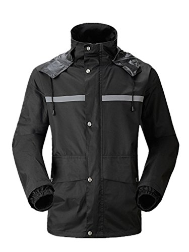 Spring Fever Men's Lightweight Rain Jacket and Pant Work Protective Rain Suit Black X-Large