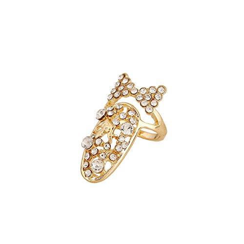 Winter's Secret Hollow Diamond Accented Bowknot Tie Women Gold Color Fingernail Ring - Cone Pumice