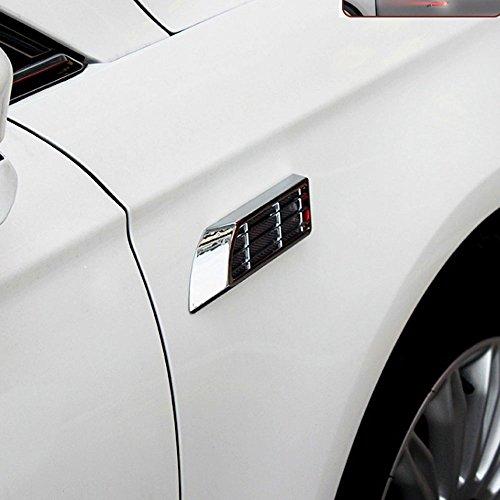 niceeshop(TM) Silver Shark Gills Design Solar Power Fast Strobe Flash Emergency Sensor Warning Light Traffic Alert for Car Vehicle,1 Pair