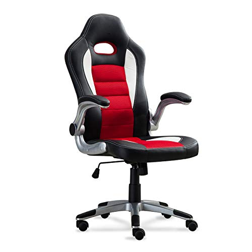 Belleze Race Seat Bucket Style Office Chair Ergonomic Computer PU Leather w/Flip Up Armrest - Red