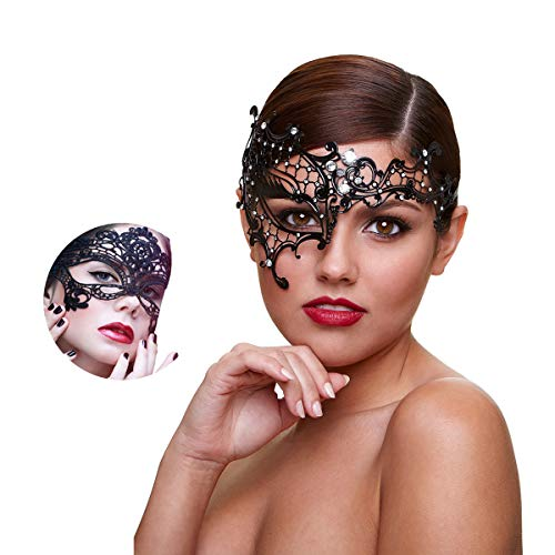 Masquerade Mask Women Shiny Rhinestone Venetian Party Prom Ball Metal Mask (Half Face) -