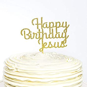 Happy Birthday Jesus Cake Topper Christmas