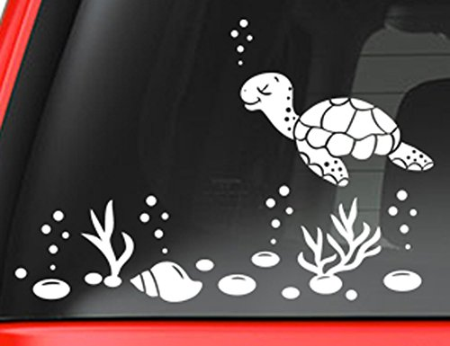 sea-turtle-and-shells-decal-sticker-white-5-vinyl-decal-for-car-macbook-or-other-laptop
