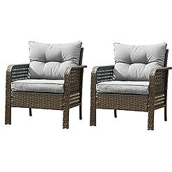 Garden and Outdoor U-Eway Outdoor Rattan Single Chair 2pcs,Patio PE Wicker Furniture Cushion Seat,2Pcs Armchairs PE Rattan Sofa Backyard… outdoor lounge furniture