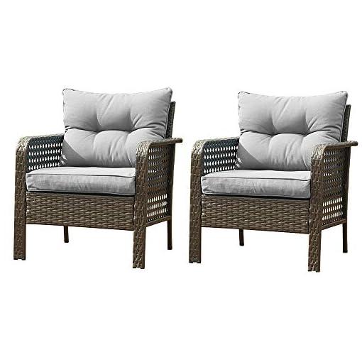 Garden and Outdoor Outdoor Rattan Single Chair 2pcs,Patio PE Wicker Furniture Cushion Seat,2Pcs Armchairs PE Rattan Sofa Backyard Yard… outdoor lounge furniture