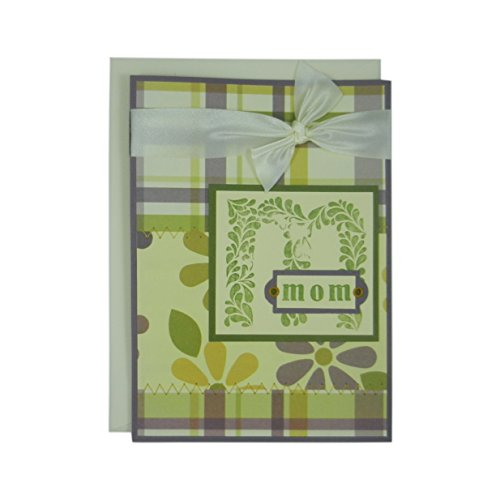 Stitched Brads (Mothers Day Greeting Card - M for Mom - Handmade Floral and Plaid Greeting Card for Mother's Day - Purple Green and Ivory Stitched & Ribbon)