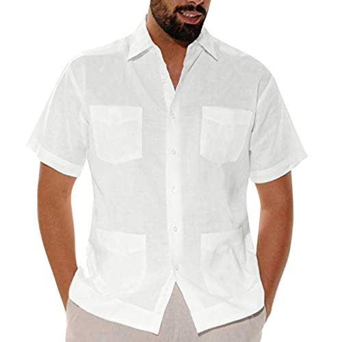 Men's Casual Button-Down Shirts,Solid Cotton Linen Muti-Pocket Short Sleeve Turn-Down Collar Performance Shirts White