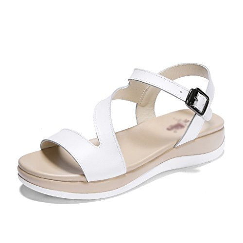 Shoes Color Flat 40 Summer ZCJB Size White Leather Toe Sandals Roman White Open Leisure Shoes Student qSATPwxvg