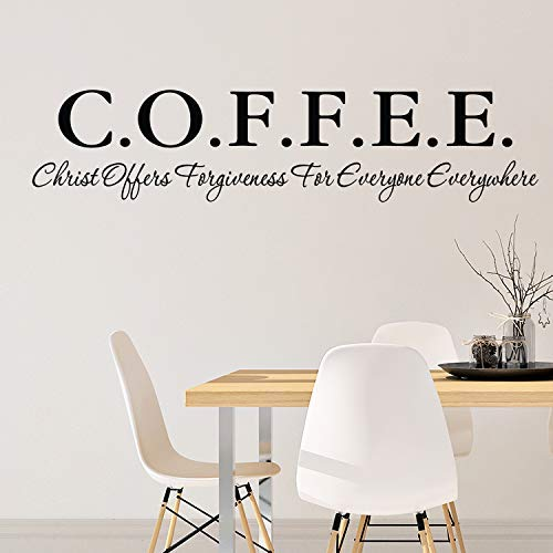 COFFEE Christ Offers Forgiveness For Everyone Everywhere Vinyl Wall Decal By Wild Eyes Signs Kitchen Decor Dining Room Breakfast Nook Church Coffee