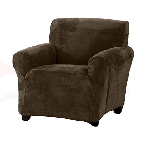 n Velvet Plush Strapless Slipcover. Form Fit Stretch, Stylish Furniture Cover/Protector. Gale Collection by Brand. (Chair, Walnut Brown) ()