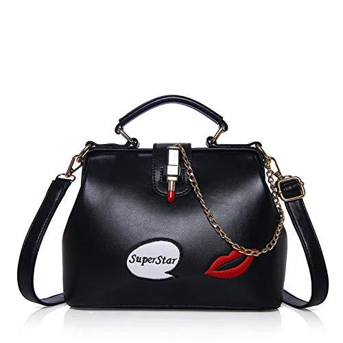 Red Lips Fashion Lady Borsa A Tracolla Diagonale A Tracolla Black
