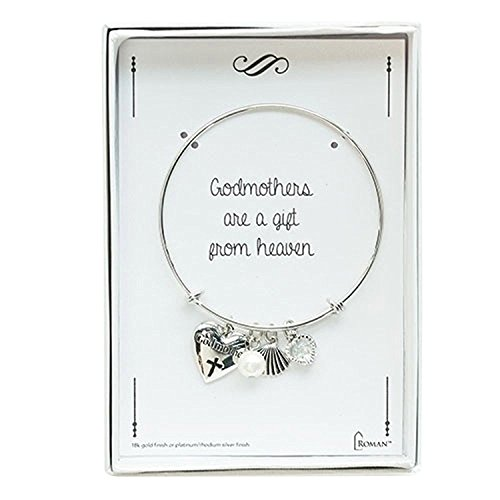 Roman First Communion Heart With Cross Silver Tone Girl's Stretch Bangle Bracelet
