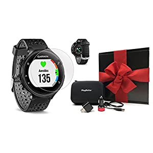 Garmin Forerunner 235 (Black) GIFT BOX Bundle | Includes Glass Screen Protectors, PlayBetter USB Car/Wall Adapters, Protective Case, Black Gift Box | GPS Running Watch, Wrist Based Heart Rate