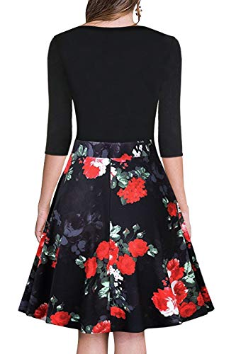 Waist Floral Women's Party Howme Fit Collar Notch Flexible Mini Black Club Dress qRtCCw5
