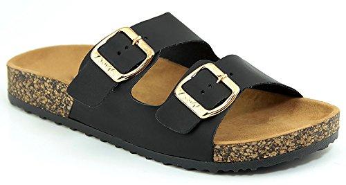 - MVE Shoes Women's Open Toe Strappy Flat Sandals - Comfort Summer Cork Slide Sandals - Sotf Footbed Sandals-Strappy Buckle Cork Sole Flip-Flop-Sandals, GLORY-100 Black 10