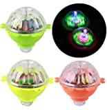 SaleOn LED Light-up Spinning Top Plastic Peg Lamp Classic Toy (Assorted Colour) - Pack of 3