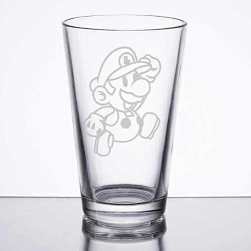 Super Mario Bros - Paper Luigi - Etched Pint Glass