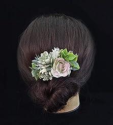 Succulent Comb Blush Wedding Flower Head...