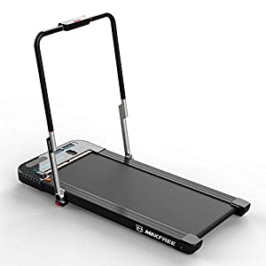 MAXFREE Folding Treadmill, 2 in 1 Under Desk Treadmill, Portable Walking and Running Machine with APP, Remote Control, Bluetooth Speaker, LED Display for Home, Office, Gym
